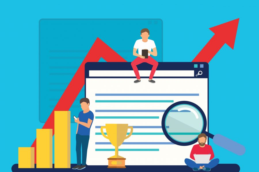 SEO growth, SEO ranking, business success flat banner vector illustration for website, blog and presentations - Vector illustration